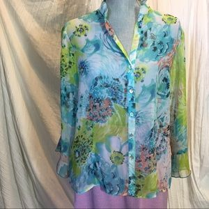 Sheer button up blouse & tank top - floral - set